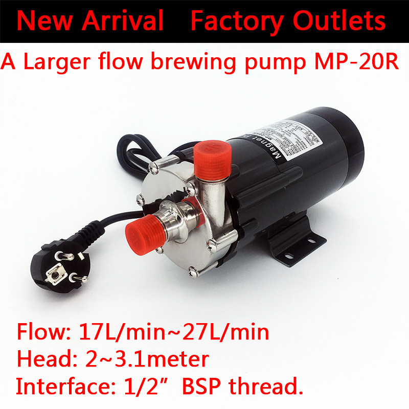304 Stainless steel Magnetic drive Water Pump MP-20R Brewing pumps Home brew beer High temperature 140 C, 1/2BSP larger flow 1 2 bsp female 304 stainless steel flow control shut off needle valve 915 psi water gas oil