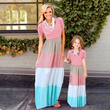 лучшая цена Girl Mother Dress Mother And Me Clothes Family Matching Mother Daughter Dresses Clothes Striped Mom Dress Kids Child Outfits