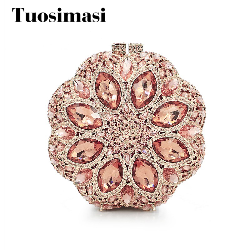 flower shape wedding purse rhinestones clutch evening handbag (8795A-C)