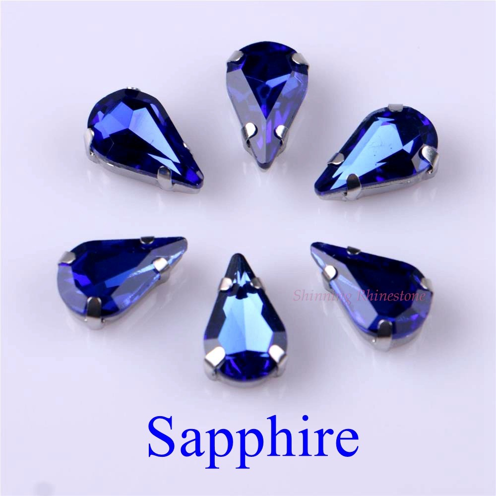 Узкий Каплевидная форма стеклянные стразы с когтями пришить с украшением в виде кристаллов Камень страз с алмазными металлическими Базовая Пряжка 20 шт./упак - Цвет: Sapphire