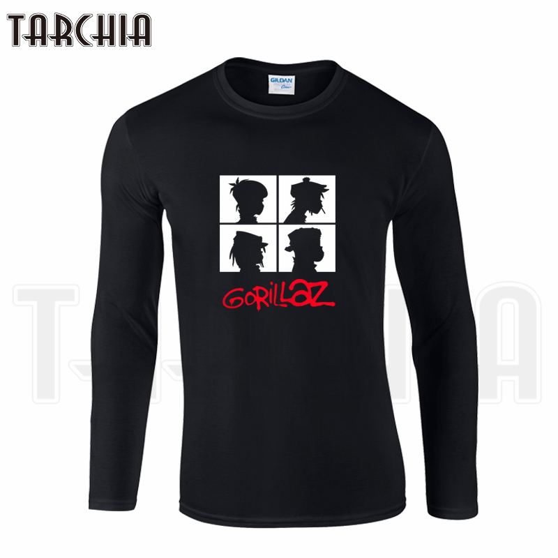TARCHIA Free Shipping Famous Band Gorillaz Print Men's Long Sleeve Homme Cool T-Shirt Cotton Tee Plus Size For Boy Woman Wear
