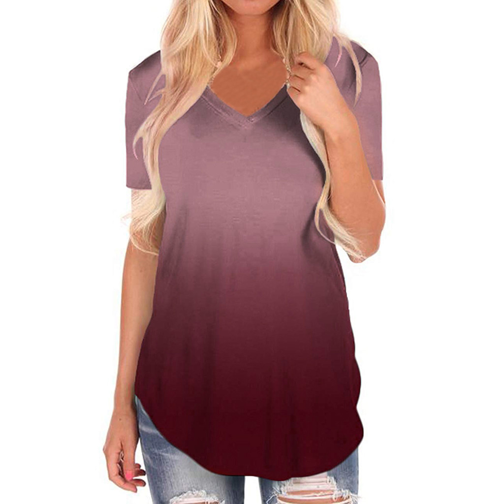 Womens Plus Size Fashions Summer 2019 T Shirt V-Neck Gradient Colour Streetwear Casual Tshirt Loose Tee Shirt Femme
