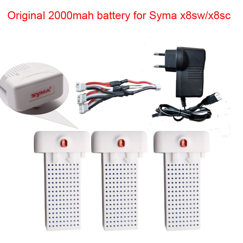 SYma X8SW X8SC X8 Pro original battery Ultra-high Capacity 7.4V 2000mAh battery rc drone quadcopter Syma X8sw X8SC  series parts for syma x8sw x8sc remote control helicopter 3pcs battery and the us regulatory charger with 1 care 3 conversion line