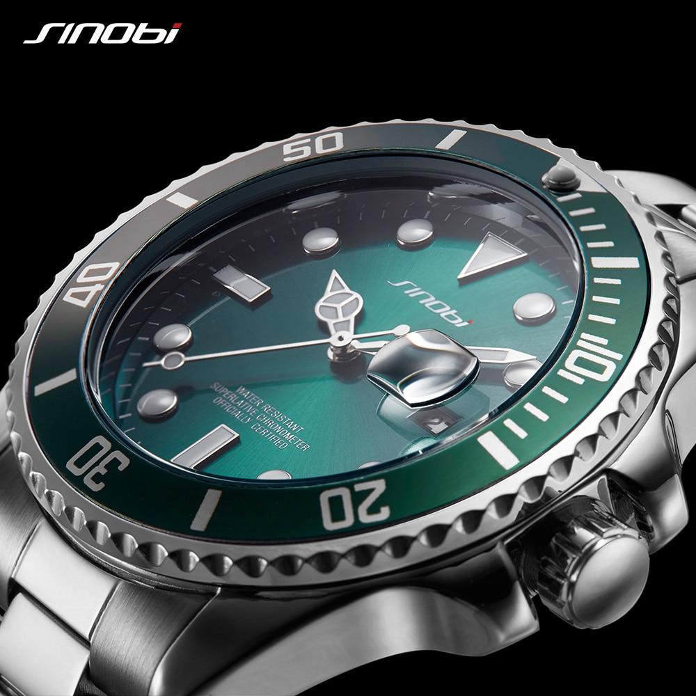 SINOBI Watches Men Top Brand Luxury Wrist Watch Submariner Quartz Waterproof Clock Man Male relogio masculino Green Wristwatch