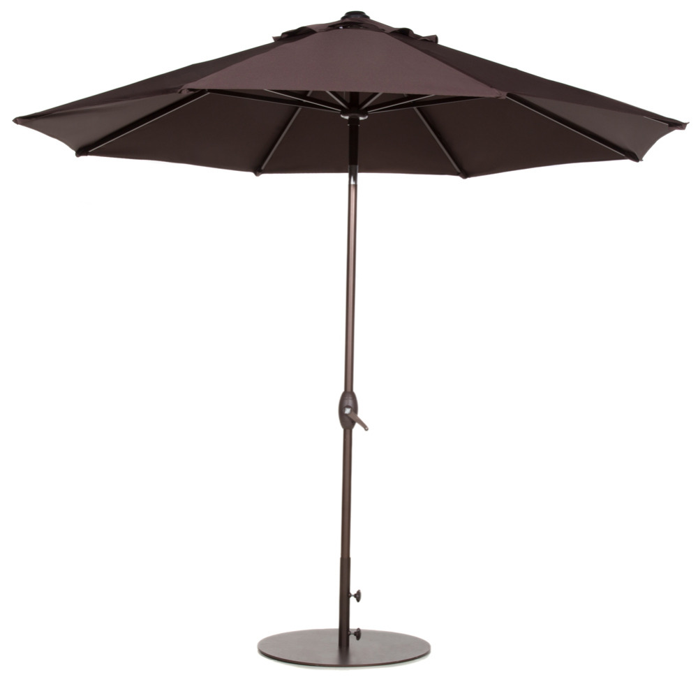 Abba Patio 9 Feet Patio Umbrella with Auto Tilt and Crank Chocolate 67598