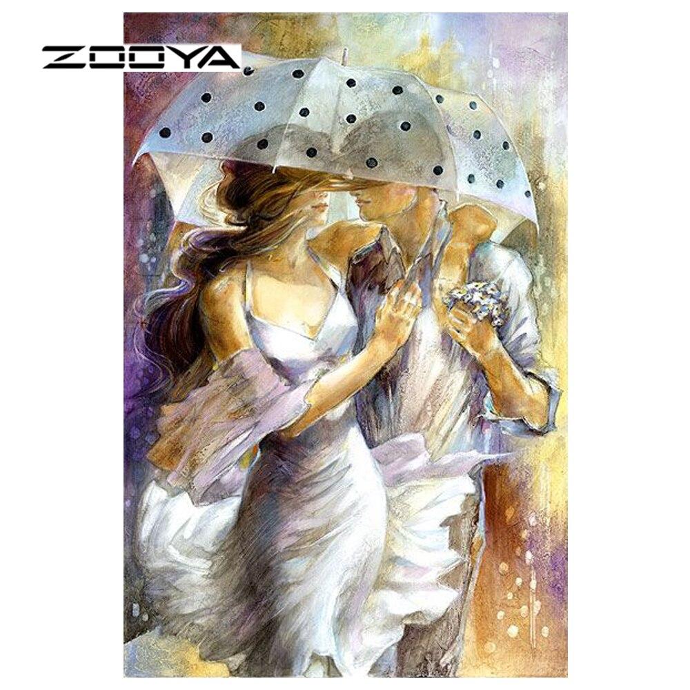 ZOOYA Diamond Embroidery Umbrella In Love Diy Diamond Painting Couple Pattern Rhinestones Sale Diamond Mosaic Needlework RF1350