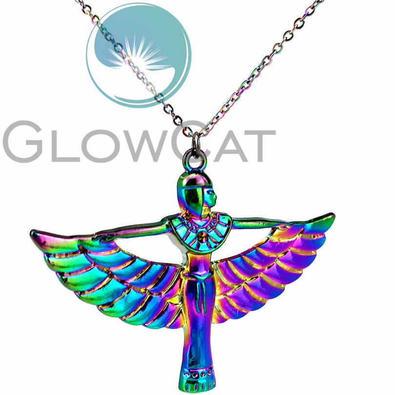 "Rainbow Color Egyptian Goddess Isis Ancient Egypt God Winged 20"" Collar Pendant Necklace Jewelry for Women Girl Gifts"