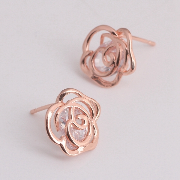 2015 Rose Gold Fashion Stud Earrings for Women Bridal Accessories Brand New Cubic Zirconia Flower Earrings Ulove R300