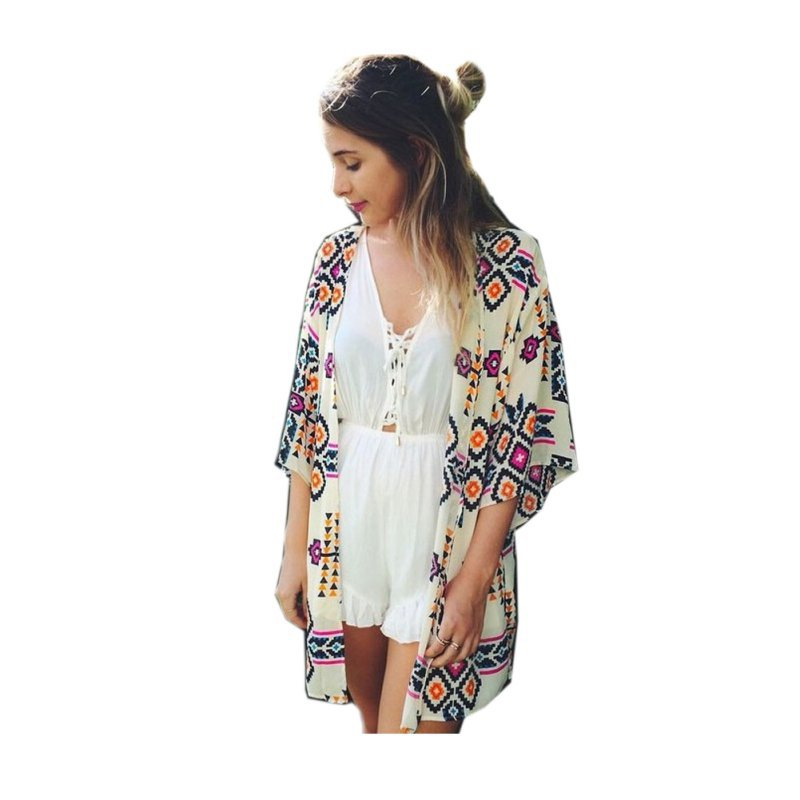 Women's Loose Chiffon Kimono Cardigan Print Long Blouse Tops Beach Cover Up 6475