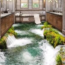 Custom Flooring Mural Wallpaper River Waterfall  Waterproof Sticker