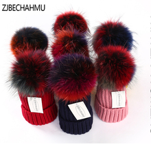 Fashion New Real Fox Fur Mink Pompoms 18cm Skullies Beanies Hats For Women Girl Winter Warm Hats Children Skullies Beanies Hats kids winter hats 2017 new real fox fur pompoms knitted beanies hat for children boys girls solid color skullies
