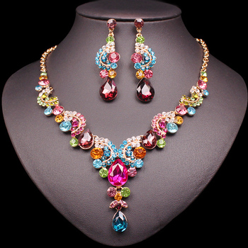 Fashion Crystal Jewelry Sets Jewelry Jewelry Sets Women Jewelry Metal Color: 2 pcs suit multi