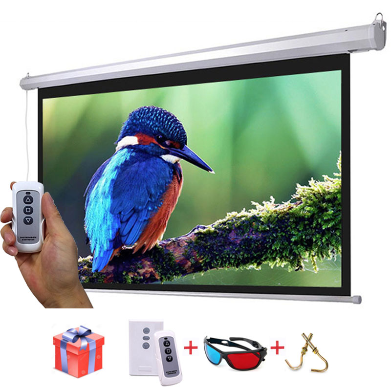 HD 100 inches 16:10 Electric Projector Screen 3D Proyeccion Projection Screens with Remote Control Fedex/UPS Fast Delivery 4 3 electric projector screen pantalla proyeccion for led lcd hd movie motorized projection screen 72 84 100 inches available