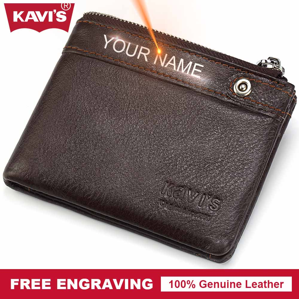 KAVIS Wallet Men Genuine Leather Coin Purse Small Walet Portomonee PORTFOLIO Money Bag Vallet Gift For Male Cuzdan Pocket Perse kavis genuine leather wallet men mini walet pocket coin purse portomonee small slim portfolio male perse rfid fashion vallet bag