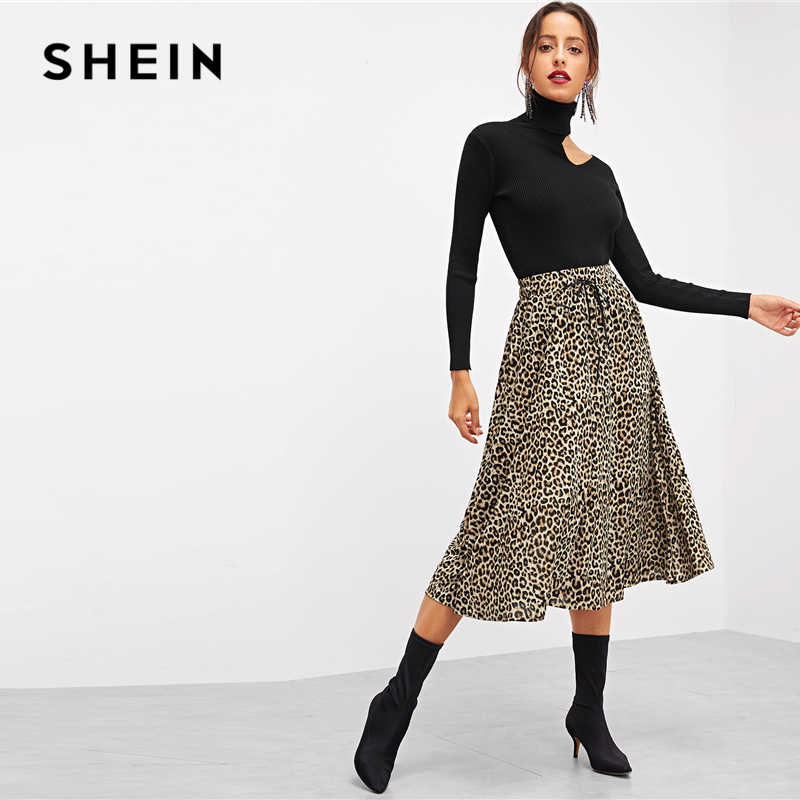 7b1908543eaf ... SHEIN Black Office Lady Cut Out Rolled Neck Asymmetrical Neck Solid  Pullovers Sweater Autumn Workwear Elegant