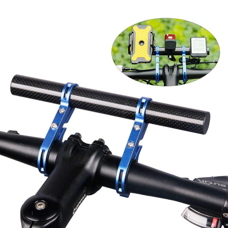 Manillar de la bicicleta se soporte Faro de bicicleta montaje Bar computadora titular de la lámpara de la linterna apoyo Rack de aleación de fibra de soporte