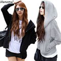 M~4XL Loose Hooded Sudaderas Mujer 2017 Fall Winter Moletom Feminino Casual Women Hoodies Zipper Plus Size Fleece Sweatshirt C25