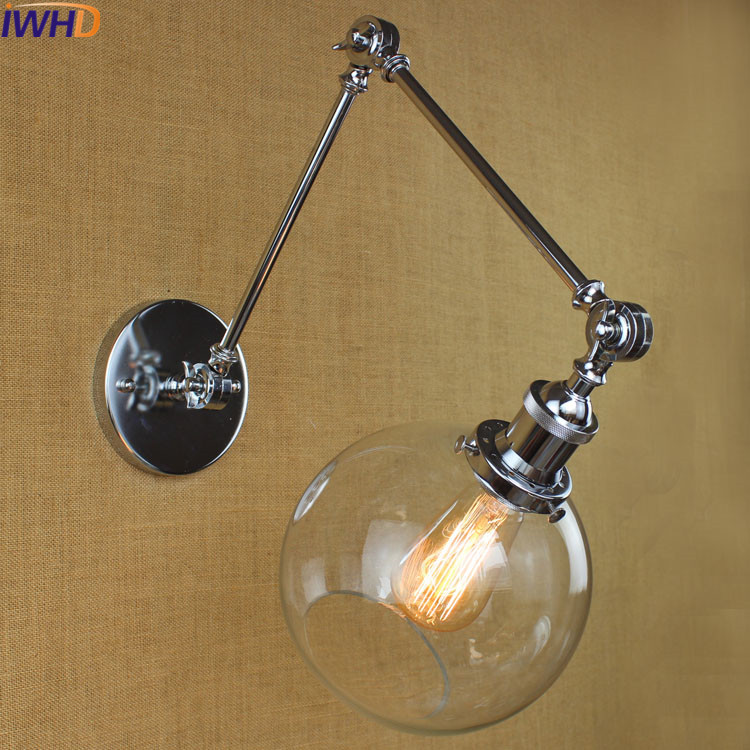 IWHD Edison Style Loft Vintage wall Lamp Led Lights Glass Swing Long arm Wall Sconce Stair Bedroom Bathroom Light Lampara Pared loft american edison vintage industry crystal glass box wall lamp cafe bar coffee shop hall store club