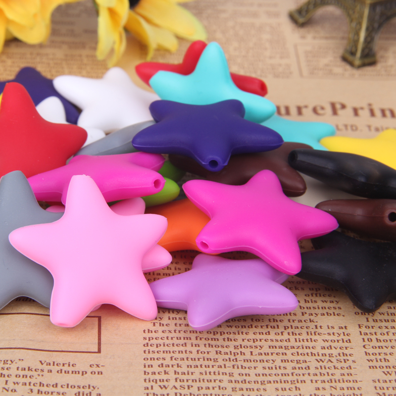 50pcs Food Grade Silicone Teething Five Stars Beads for DIY Necklaces Beads Baby Soother Chain Sunflower Pendants European Charm