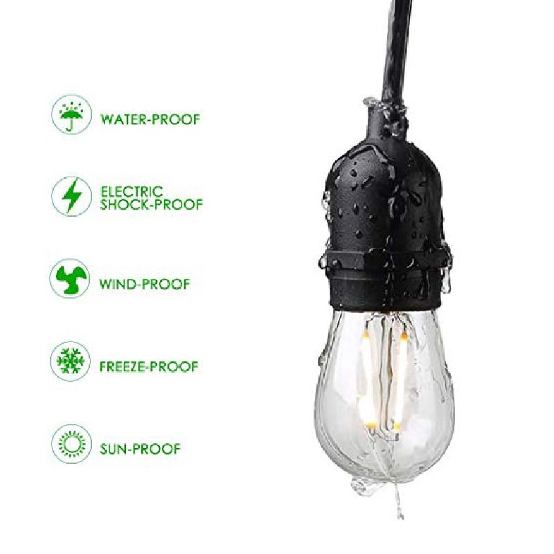 Waterproof 7M 10M 15M String Lights Indoor Outdoor Commercial Grade E26 E27 Street Garden Patio Backyard