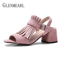 Women Sandals Summer Shoes High Heels Open Toe Buckle Strap Female Sandals Flock Fringe Fashion Women Shoes Plus Size DE sexy women heeled sandals summer shoes women gladiator sandals open toe women shoes high heels wedding female shoes plus size de