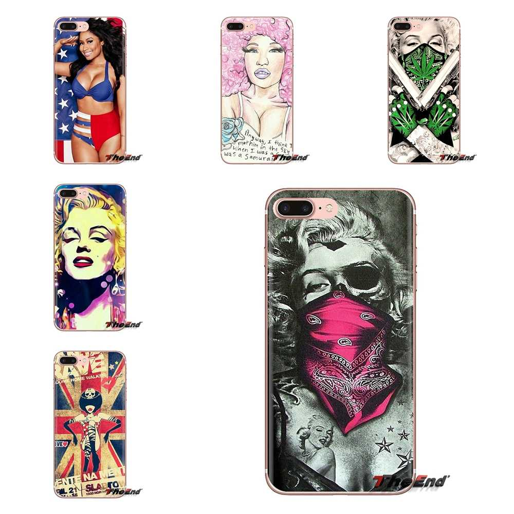 Transparan TPU Kasus Bikini Marilyn Monroe Nicki Seksi untuk Samsung Galaxy S3 S4 S5 Mini S6 S7 Edge S8 S9 s10 Plus Catatan 3 4 5 8 9