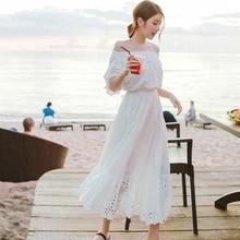Bohemian Long Dress Womens Female Casual Summer party dress beach seaside vacation tube top word shoulder Women