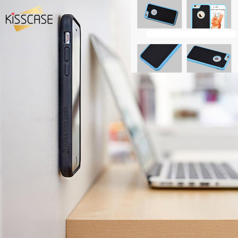KISSCASE Anti Gravity Case For iPhone 7 6 6s Plus 5 s SE Samsung Galaxy S7 S6 Edge S5 S8 S8 Plus Cases Silicone TPU Cover