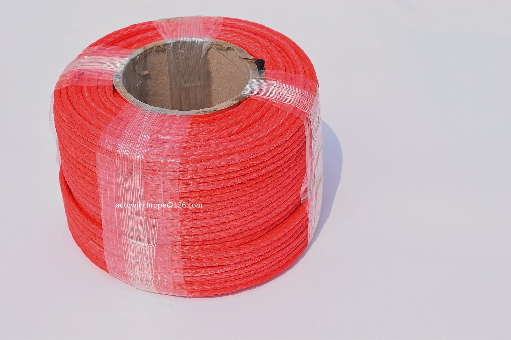 Red 5mm*100m Synthetic Winch Rope,Plasma Winch Cable,UHMWPE Rope,ATV UTV Off-road Rope