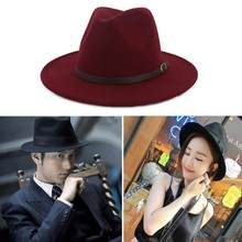 где купить Imitation Woolen Ladies Fedoras Top Jazz Hat European Gentle Wide brim Bowler Hats по лучшей цене