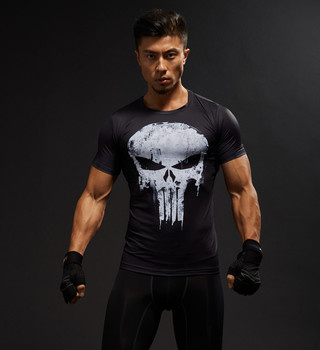 Short Sleeve 3D Captain America Superman Fitness Compression T Shirt