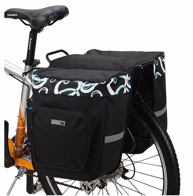 30L Double Side Bike Rear Bag Pannier 600D Polyester Bicycle Carrier Bag PVC Cycling Rack Seat Bag MTB Saddle Bag Pouch BG0025