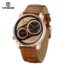Vinoce Barato reloj de cuarzo hombres deportes al aire libre y de ocio de negocios cinturón de doble movimiento de reloj de la marca de lujo Del Relogio impermeable