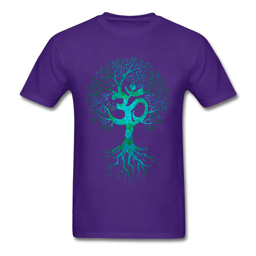 Mens Tshirts Om Tree Of Life Europe Tops & Tees Cotton Fabric O-Neck Short Sleeve Slim Fit Tops Shirt Labor Day Om Tree Of Life purple