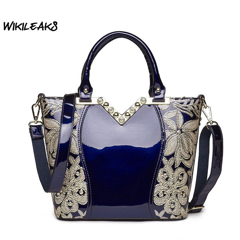 2017 Patent Genuine Leather Handbags for Women Diamond Sequin Handbag Party Shoulder Bags Female Shinny Bridal Tote Bag C143 patent leather handbag shoulder bag for women