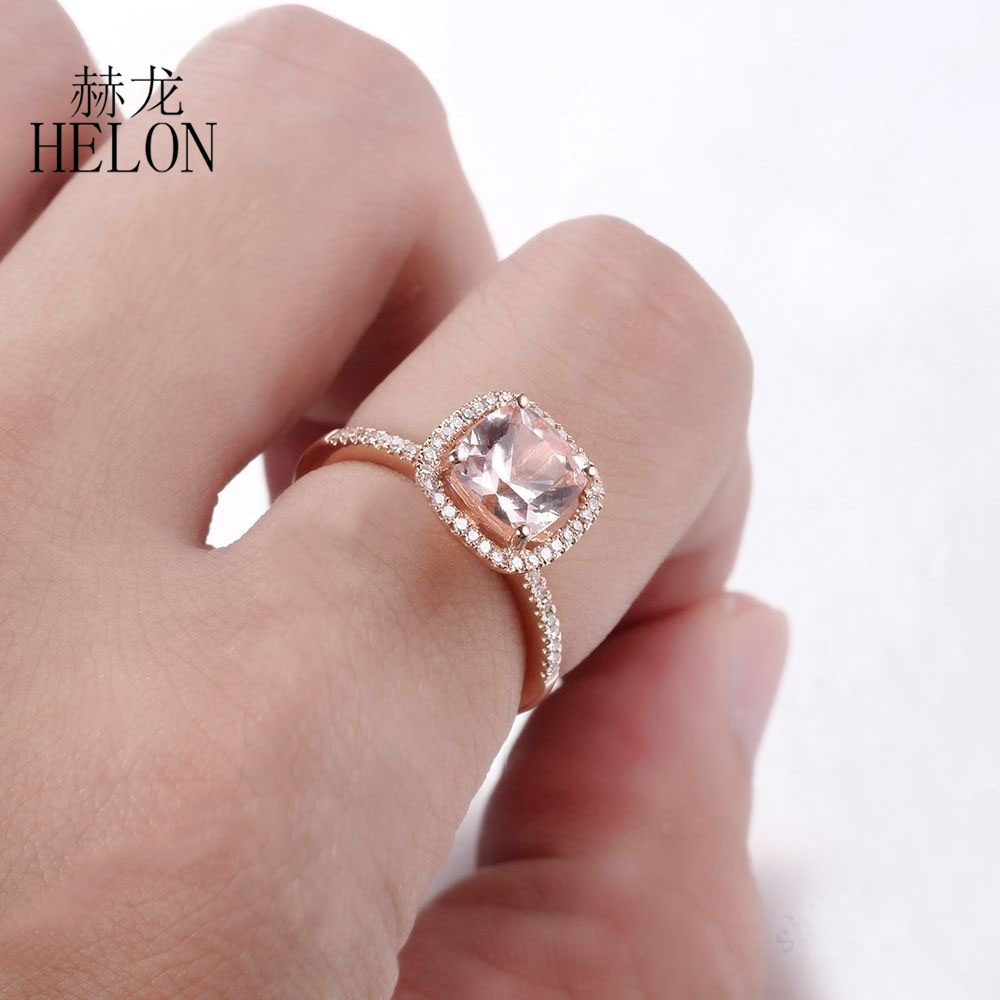 HELON 7x7mm Cushion Cut 1.5ct Natural Morganite 0.2ct Diamond Fine ...