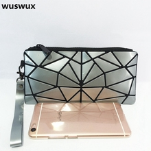 WUSWUX new fashion brand zipper pvc makeup bag casual geometric women travel cosmetic organizer case clutch 9 colors