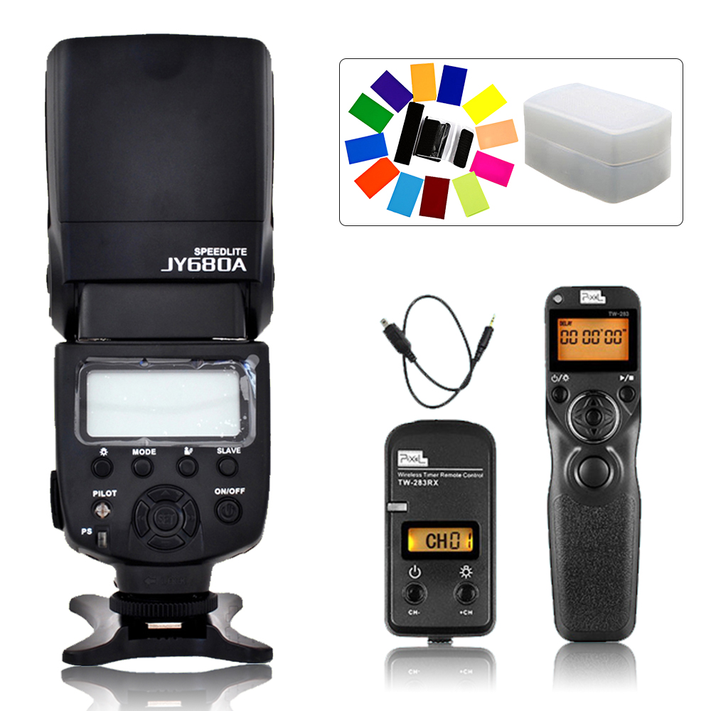 Viltrox JY-680A Flash Speedlite & Pixel TW-283 DC2 Timer Remote Control For Nikon D7100 D3300 D5100 D7000 D3200 D90 D7200 D5000 jy 680a universal camera lcd flash speedlite for canon 100d 1200d 650d 750d 70d 60d for nikon d90 d5100 d3200 d3300 d7100