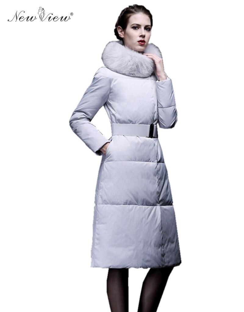 ФОТО 2017 Winter Jacket Women Elegant Style Fur Collar Long Coat Eiderdown Cotton Padded Parka Thick Warm Slim Jaqueta Feminina