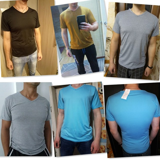 Elastic V Neck Men T Shirt Mens Fashion Short Sleeve Tshirt Fitness Casual Male T-shirt Brand Clothing Tee Tops 5XL