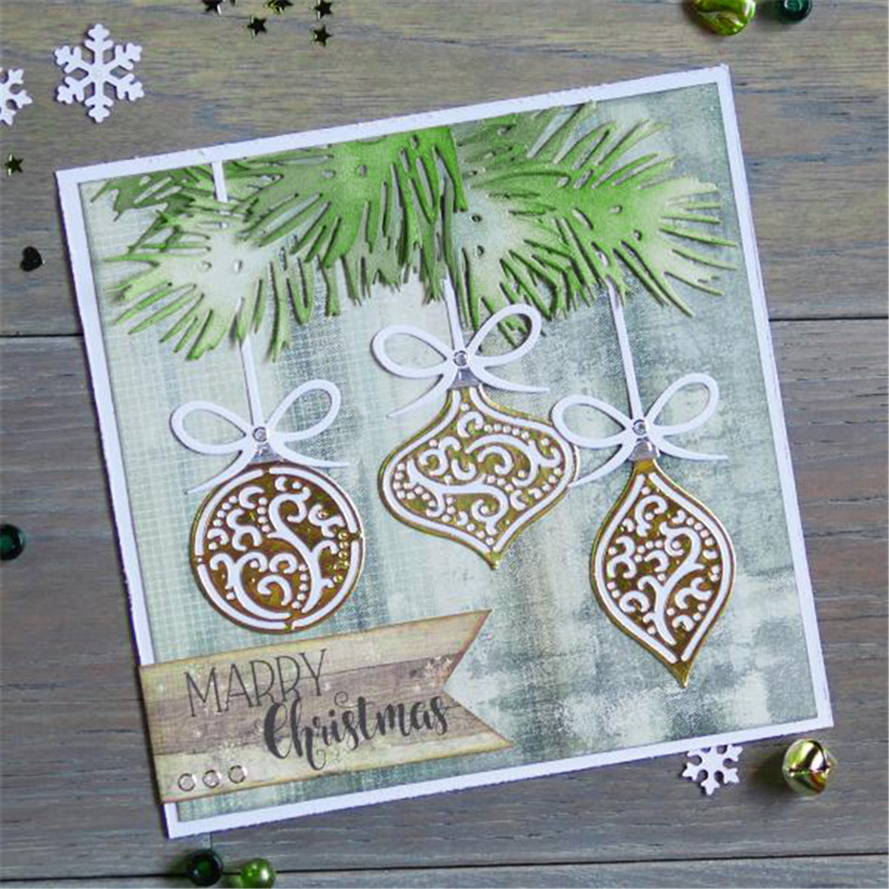 Large Christmas Stencils For Wood.Us 6 91 23 Off 155 160mm Big Christmas Ball Set Metal Cutting Die Scrapbooking Embossing Stencil Card For Diy Invitation Album Book Decoration In