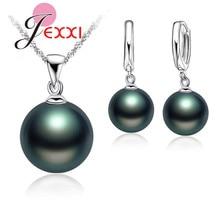 JEMMIN Delicate Pearl 925 Sterling Silver Jewelry Sets Drop Earrings Necklace Pendant Jewelry Women Wedding Appointment Party
