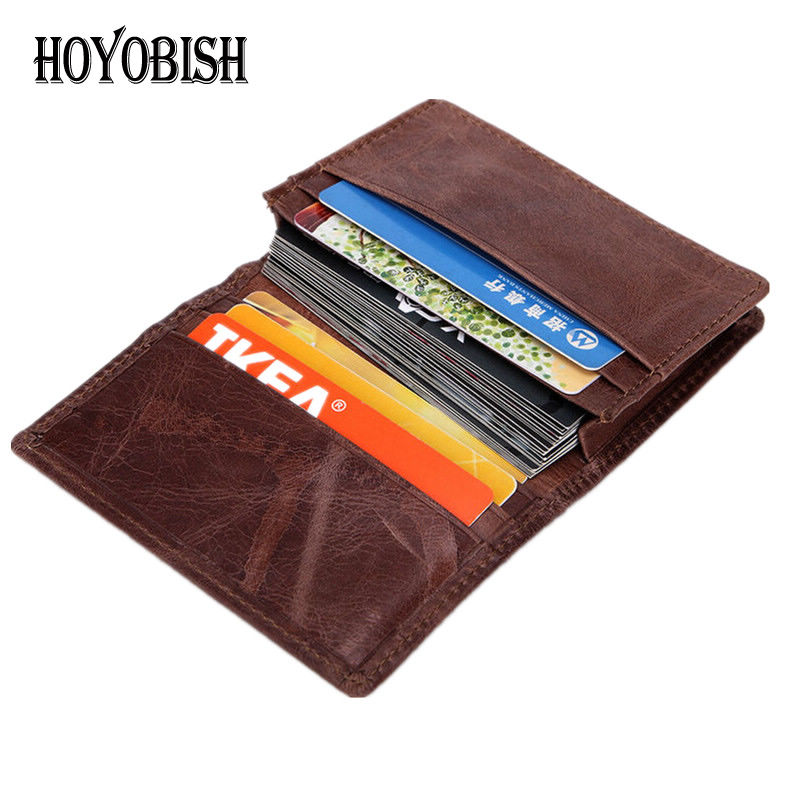 HOYOBISH Vintage Genuine Leather Men Credit Card Holder For Plastic Cards Bank Cards Cow Leather Business ID Card Holder OH176