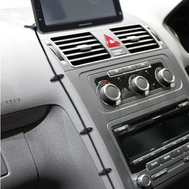 2016 New Hot 1Set Car Charger Line Clasp Clamp Headphone/USB Cable Car Clip Plastic Car Accessories Black Wholesale