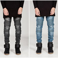 2016 Brand fashion clothing BIKER slim fit washed long men JEANS  personality ruffle cultivate pants plus size 29-36
