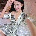 2016 Хорошее качество атласная ночная рубашка установить sexy v шеи полный рукав L-XXL пижамы халаты мода цветочный узор халат набор для женщины