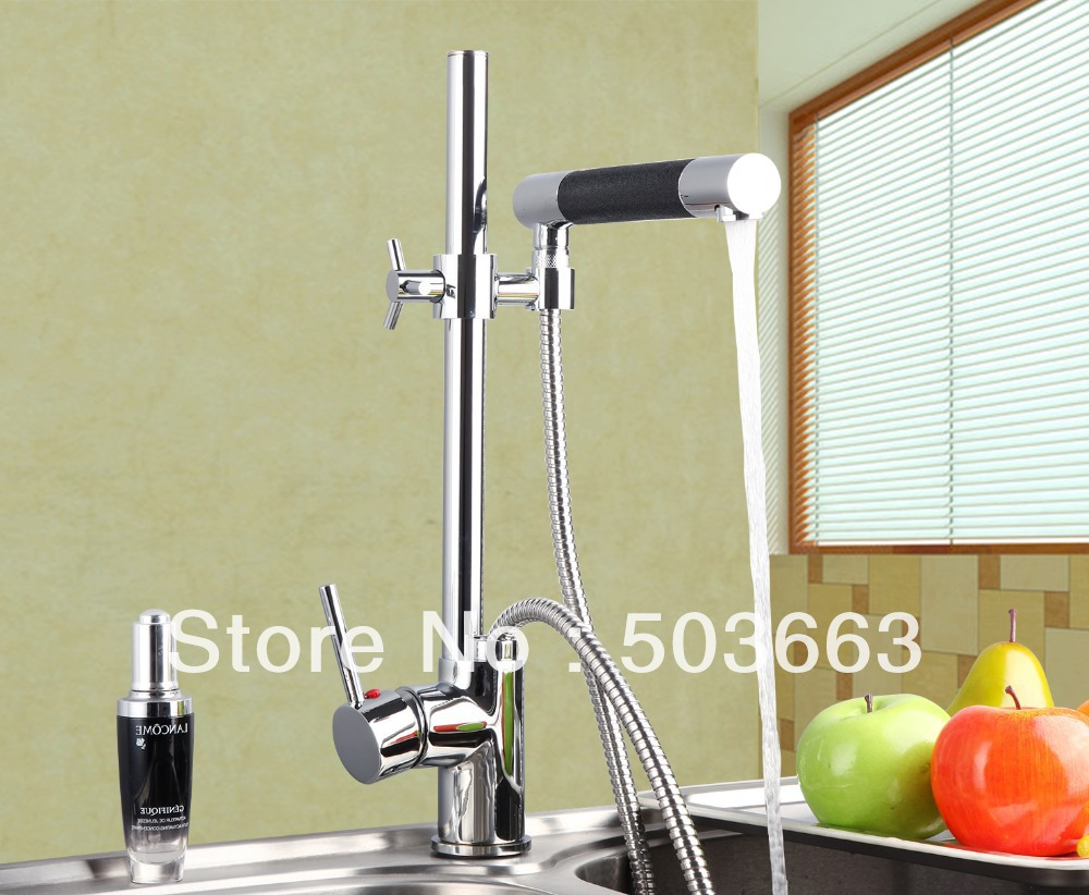 цена на Newly Chrome Brass Water Kitchen Faucet Swivel Spout Pull Out Vessel Sink Single Handle Deck Mounted Mixer Tap MF-302