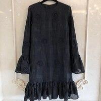 Высокое качество винтажное черное платье для женщин с длинным рукавом женское платье для леди 2019 Новое Женское модное платье