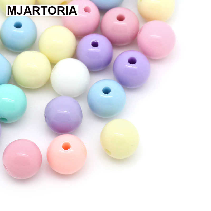 2019 500PCs Candy Color Acrylic Round Ball Spacer Beads For Pacifier Chain Jewelry Making DIY Accessories Handicrafts Random Mix