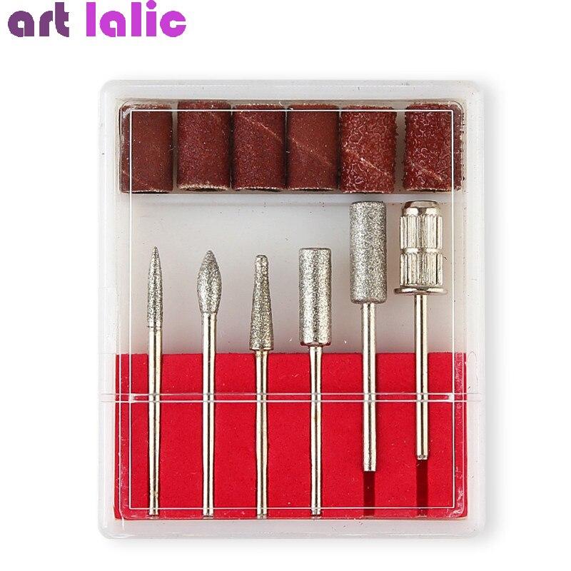 6Pcs Nail Art Drill Bit Replace Sandpaper Head Set With Case Gel Polish Tips Grinding Polishing Shaping Machine Rotary Tool Kits